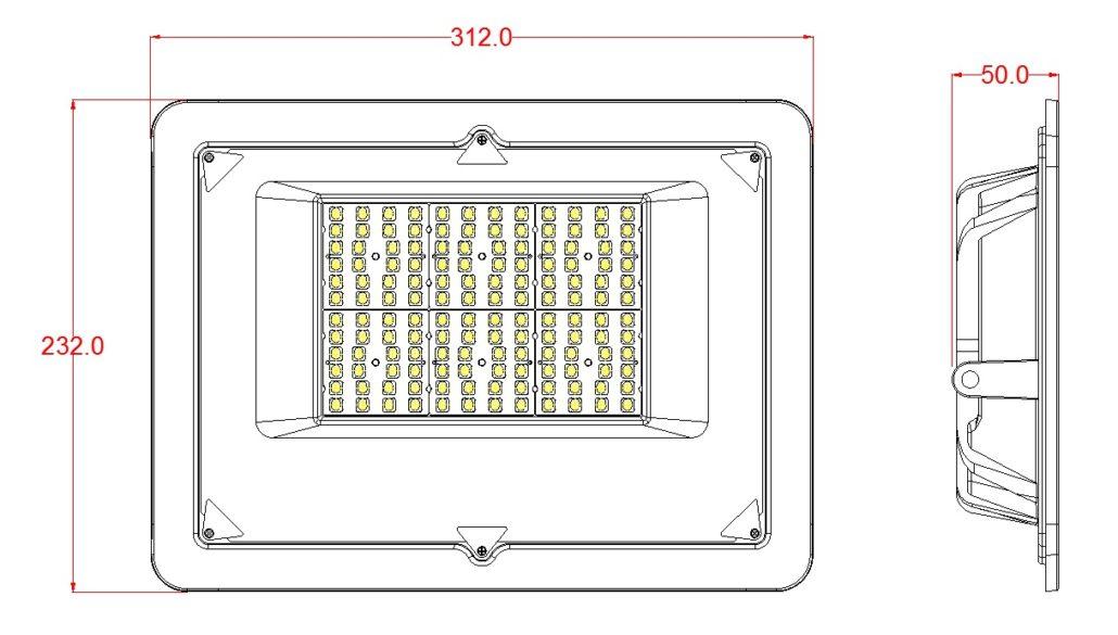 100w flood light dimensions sketch