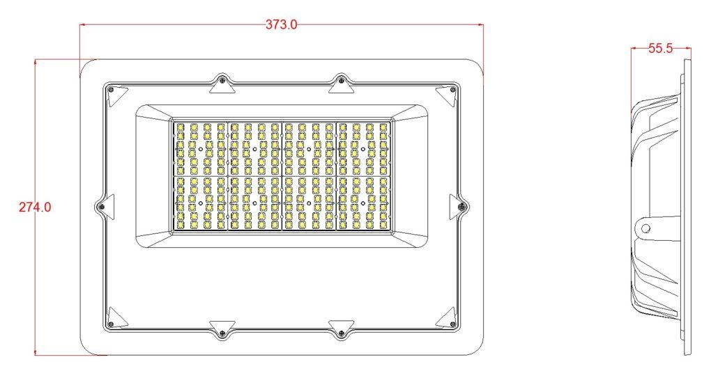150w flood light dimensions sketch