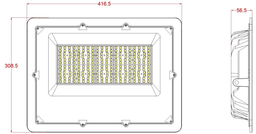 200w flood light dimensions sketch