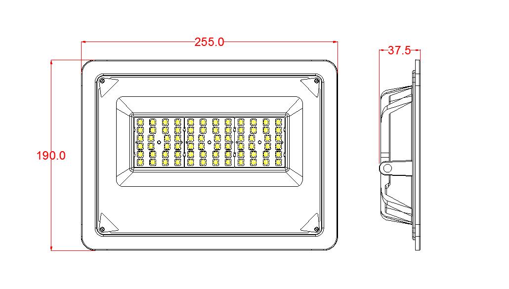 50w Floodlight dimensions