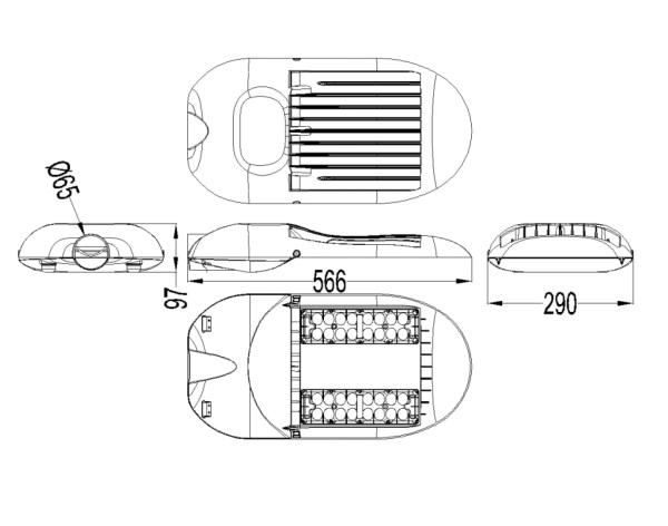 100w,120w street light dimensions